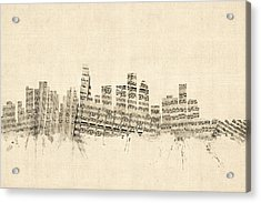 Los Angeles California Skyline Sheet Music Cityscape Acrylic Print by Michael Tompsett
