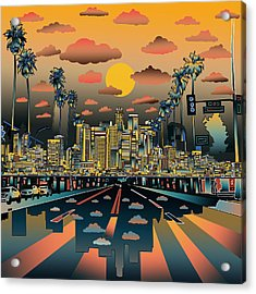 Los Angeles Skyline Abstract 2 Acrylic Print by Bekim Art