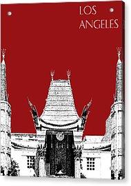 Los Angeles Skyline Graumans Chinese Theater - Dark Red Acrylic Print by DB Artist