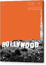 Los Angeles Skyline Hollywood - Coral Acrylic Print by DB Artist
