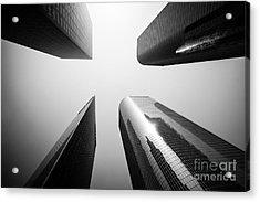 Los Angeles Skyscraper Buildings In Black And White Acrylic Print by Paul Velgos