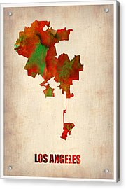 Los Angeles Watercolor Map Acrylic Print by Naxart Studio