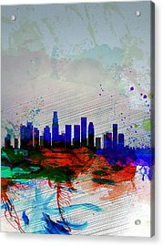 Los Angeles  Watercolor Skyline 1 Acrylic Print by Naxart Studio