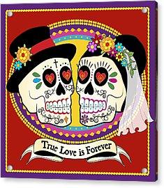 Los Novios Sugar Skulls Acrylic Print