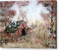 Acrylic Print featuring the painting Lost Barn by The GYPSY And DEBBIE