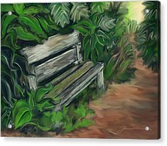 Lost Bench Acrylic Print by Jean Pacheco Ravinski