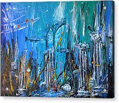 Acrylic Print featuring the painting Lost City by Arturas Slapsys