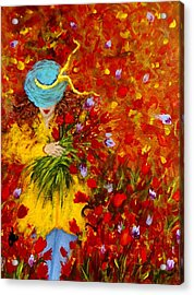 Lost In A Field Of Tulips.. Acrylic Print