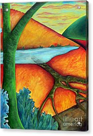 Acrylic Print featuring the painting Lost Land 1 by Elizabeth Fontaine-Barr