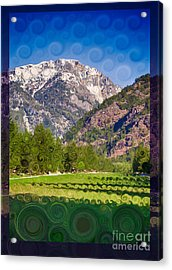 Acrylic Print featuring the painting Lost River Airport Runway Abstract Landscape Painting by Omaste Witkowski