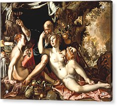 Lot And His Daughters Acrylic Print by Joachim Antonisz Wtewael