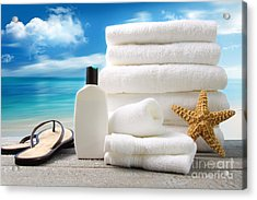 Lotion  Towels And Sandals With Ocean Scene Acrylic Print