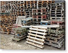 Lots Of Pallets Acrylic Print by Olivier Le Queinec