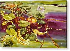 Lotus And Goldfish Acrylic Print