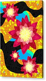 Lotus Flower Bombs In Magenta Acrylic Print by Kenal Louis