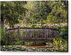 Acrylic Print featuring the photograph Lotus Garden Pond And Bridge by Jerry Gammon