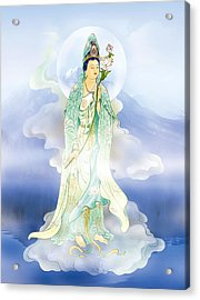Acrylic Print featuring the photograph Lotus-holding Kuan Yin by Lanjee Chee