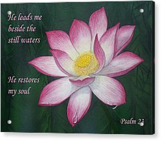 Lotus Lily Psalm Twenty Three Acrylic Print