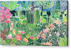 Lotus Pond Ubud Bali Acrylic Print by Hilary Simon