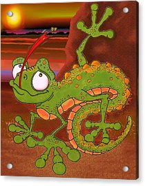 Louie The Lizard Acrylic Print by Paul Calabrese