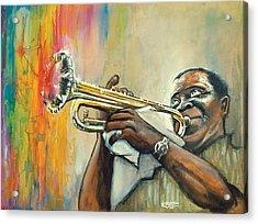 Louis Armstrong Acrylic Print by Edward Draganski