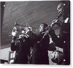 Louis Armstrong Playing The Trumpet With Band Acrylic Print
