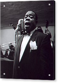Louis Armstrong Sings Into The Mic. Acrylic Print by Retro Images Archive