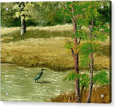 Acrylic Print featuring the painting Louisiana Pond With Heron by Lenora  De Lude