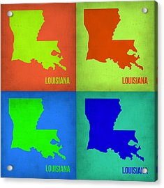 Louisiana Pop Art Map 1 Acrylic Print by Naxart Studio