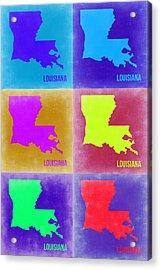 Louisiana Pop Art Map 2 Acrylic Print by Naxart Studio