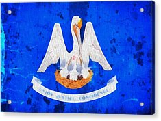 Louisiana State Flag On Worn Canvas Acrylic Print by Dan Sproul