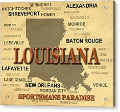 Louisiana State Pride Map Silhouette  Acrylic Print