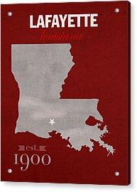 Louisiana University Lafayette Ragin Cajuns College Town State Map Poster Series No 057 Acrylic Print