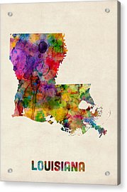 Louisiana Watercolor Map Acrylic Print by Michael Tompsett