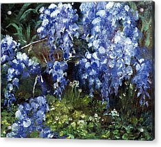 Acrylic Print featuring the painting Louisiana Wisteria by Lenora  De Lude