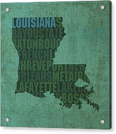 Louisiana Word Art State Map On Canvas Acrylic Print