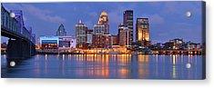 Louisville Skyline At Dusk Sunset Panorama Kentucky Acrylic Print by Jon Holiday