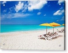 Lounge Chairs And Yellow Umbrellas Acrylic Print by Jo Ann Snover
