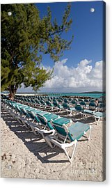 Lounge Chairs On The Beach Acrylic Print by Amy Cicconi