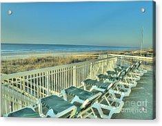 Lounge Chairs Overlooking Beach Acrylic Print