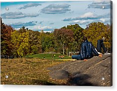 Lounging In Central Park Acrylic Print by Douglas Adams