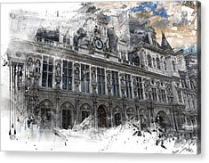 Louvre In A Splash Acrylic Print by Evie Carrier