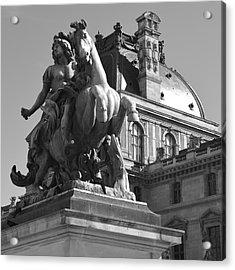 Louvre Man On Horse Acrylic Print by Cheryl Miller
