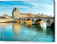 Louvre Museum And Pont Royal - Paris  Acrylic Print by Luciano Mortula