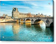 Louvre Museum And Pont Royal - Paris  Acrylic Print