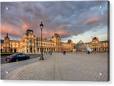 Louvre Museum At Sunset Acrylic Print by Ioan Panaite