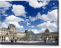 Louvre Museum. The Pyramid. Paris Acrylic Print by Bernard Jaubert