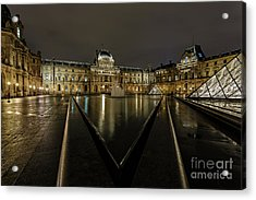 Louvre Pyramid And Pavillon Richelieu Acrylic Print by Rostislav Bychkov