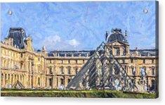 Louvre Pyramid Acrylic Print by Liz Leyden