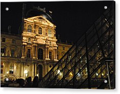 Louvre With Pyramid - Nite Acrylic Print by Jacqueline M Lewis